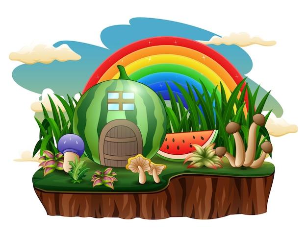 Watermeloenhuis met een regenboog op het eiland