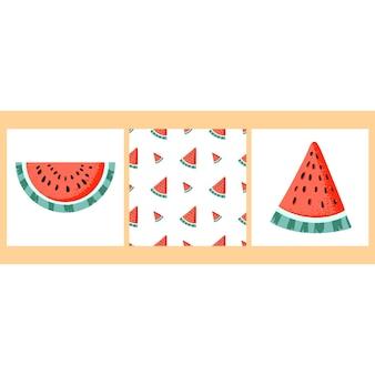 Watermeloenoogst set van stukjes watermeloen en watermeloenpatroon
