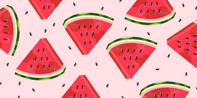 Watermeloenplak en zadenachtergrond Gratis Vector