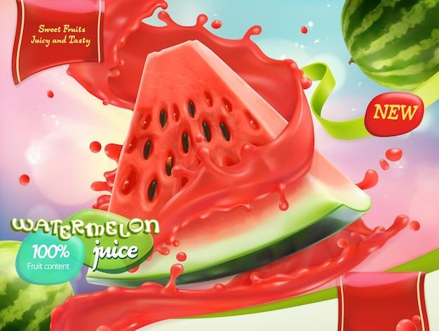 Watermeloensap. zoete vruchten. 3d-realistische vector, pakketontwerp