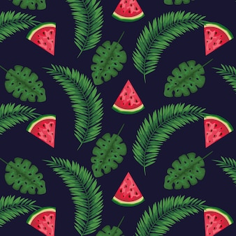 Watermeloenvruchten met exotische bladeren