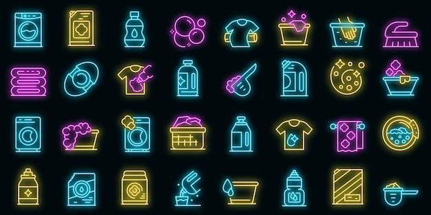 Waterontharder pictogrammen instellen. overzicht set van wasverzachter vector iconen neon kleur op zwart