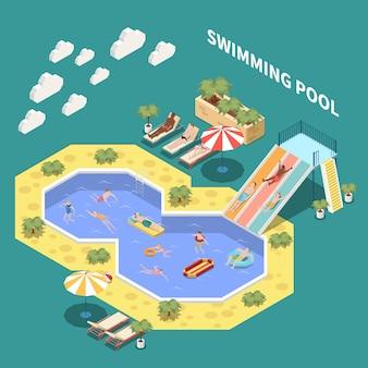 Waterpark aquapark isometrische samenstelling met ligstoelen waterglijbanen en open zwembaden met mensen en tekst