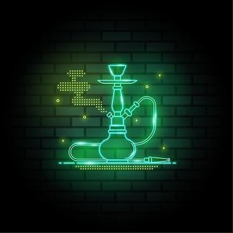 Waterpijp neonreclames op donkere bakstenen muur achtergrond nacht waterpijp ontwerp sjabloon lichte banner