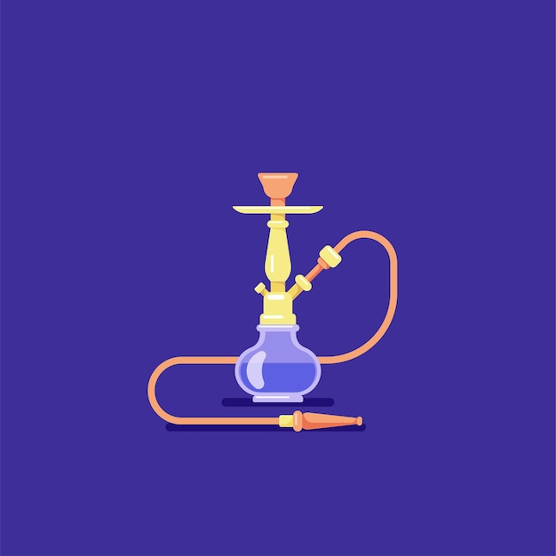 Waterpijp roken concept. vlakke stijl shisha