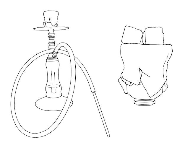 Waterpijp set met pijp en kolen lineaire schets doodle