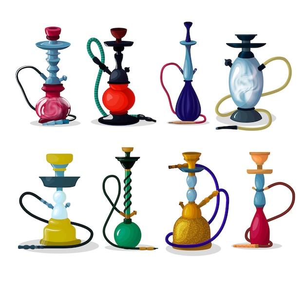Waterpijp tabak hooka rookpijp arabische shisha en roken hubble-bubble illustratie set van turkse aroma buis object voor ontspanning geïsoleerd op witte achtergrond