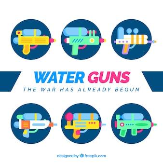Waterpistolen collectie in vlakke stijl