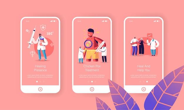 Waterpokken varicella symptomen schermsjablonen voor mobiele app-pagina's.