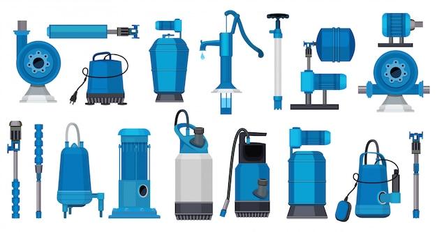 Waterpompen. ijzeren elektrische motorsystemen pompen industriële pompwater- of olietanksfoto's