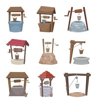 Waterput. antieke cartoon land wellness dorp houten constructie vectorillustratie. land landelijk, boerderij antieke constructie