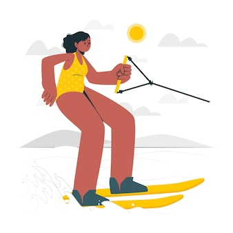 Waterski concept illustratie