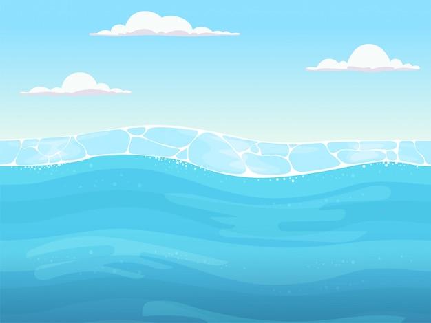 Waterspel naadloos. vloeibare blauwe oppervlakte achtergrond voor 2d game designers oceaan rivier of zee met golven