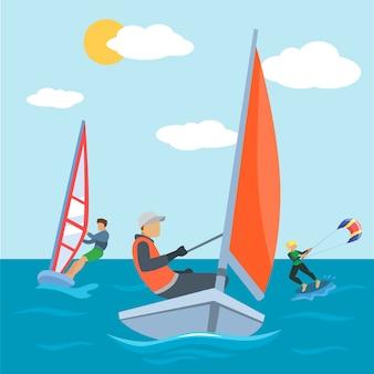 Watersport op zee, kite en surfen activiteit illustratie. het karakter van extreme surfermensen heeft actief plezier op het zomerstrand