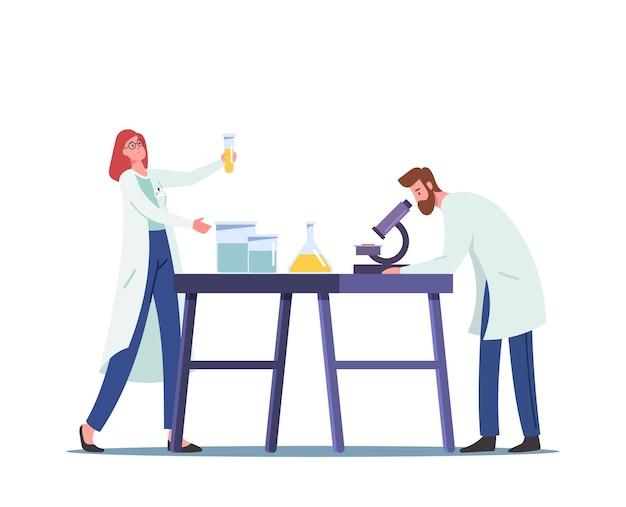Waterstofbrandstofproductie in chemisch laboratoriumconcept. wetenschapper met microscoop en kolven wetenschappelijk onderzoek, alternatief biodiesel onderzoeksproces in lab. cartoon mensen vectorillustratie