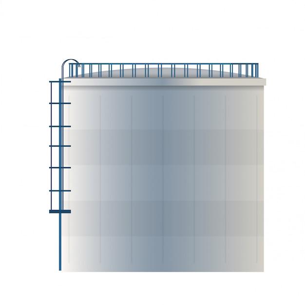 Watertank, opslagreservoir voor ruwe olie, cilinder.