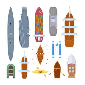 Watertransportset van verschillende moderne oorlogsschepen, veerboot, zeetransport.