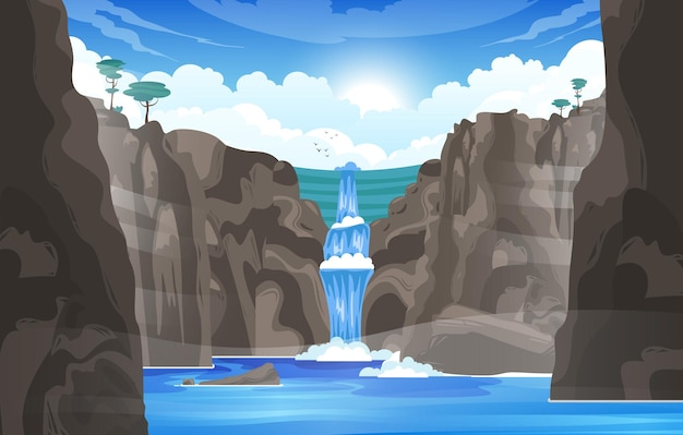 Waterval cartoon achtergrond met rivier stroom stroomt stenen gooien naar bergmeer vlakke afbeelding