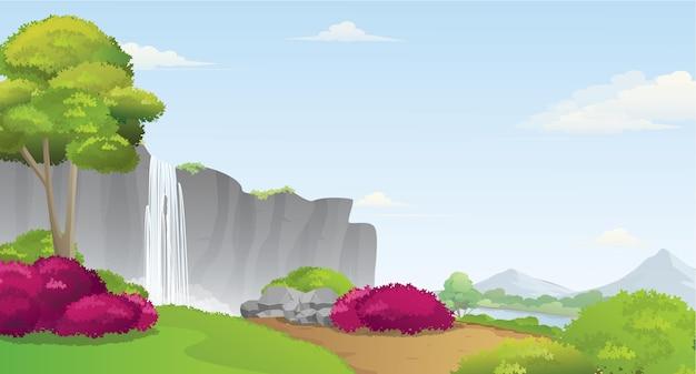 Waterval en beauty valley landschap met bergen en rivier