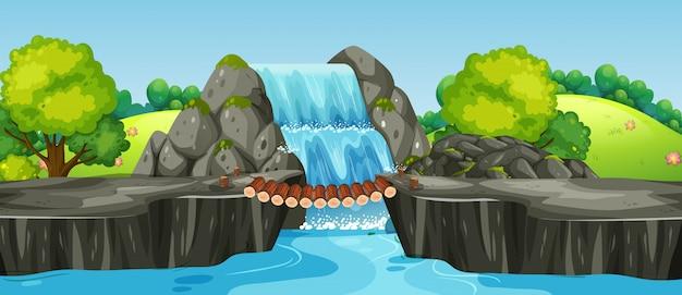 Waterval in aardlandschap