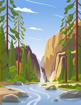 Waterval in een nationaal park in de verenigde staten. landschap van een bos in een park. panorama van een rivier en bos in een nationaal park in canada. prachtig landschap. vector illustratie. eps 10