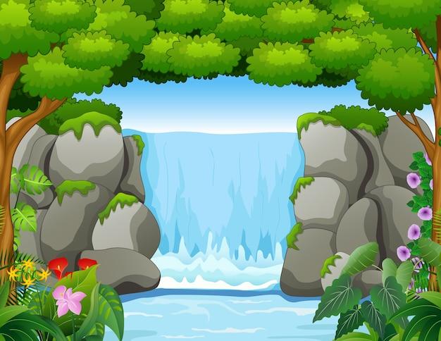 Waterval landschap-achtergrond in het bos