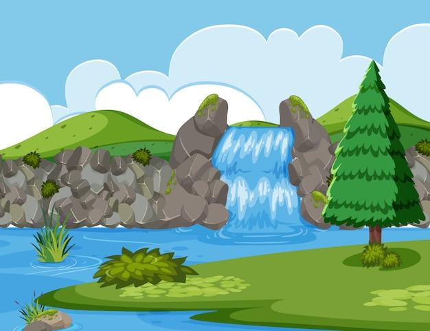 Waterval rivier hout scène