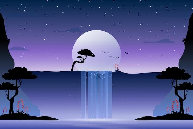 Watervallandschap en sterrige nachtillustratie