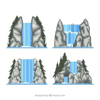 Watervallen collectie in cartoon stijl