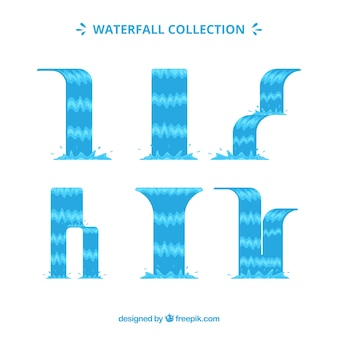 Watervallen collectie in cartoon stijl