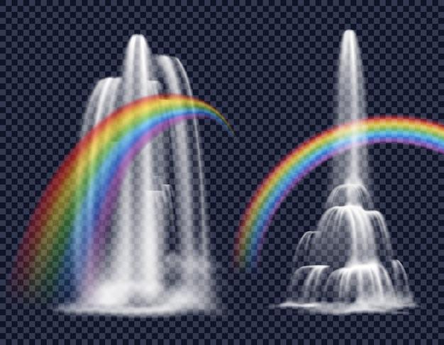 Watervallen en regenbogen decoratieve elementen