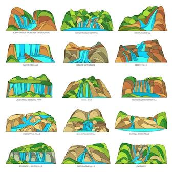 Watervallen of watervallen natuurlijke bezienswaardigheden landschap set