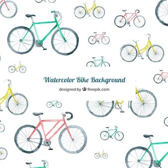 Waterverf achtergrond met kleurrijke fietsen