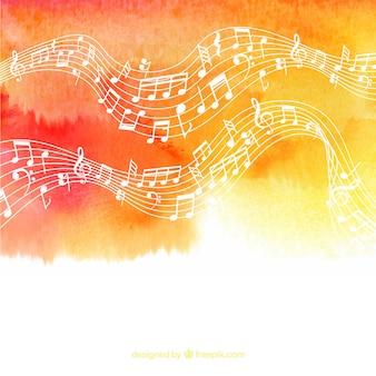 Waterverf achtergrond met pentagram en muzieknoten