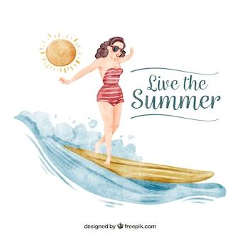 Waterverf achtergrond van pin up meisje met surfplank