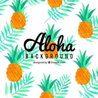 Waterverf ananas achtergrond