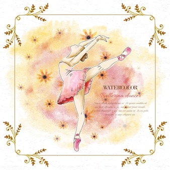 Waterverf ballerina danser