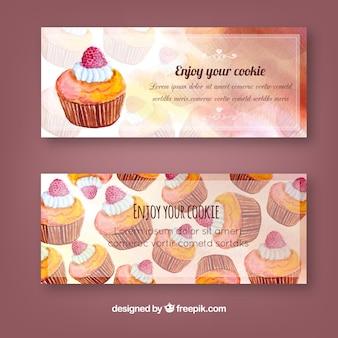 Waterverf banners met cupcakes
