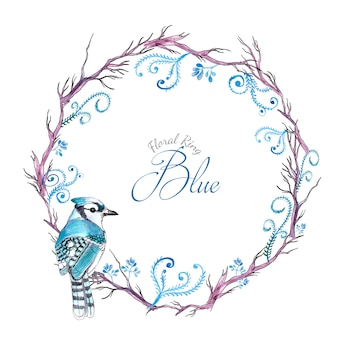 Waterverf blauwe bloemenvogel ring