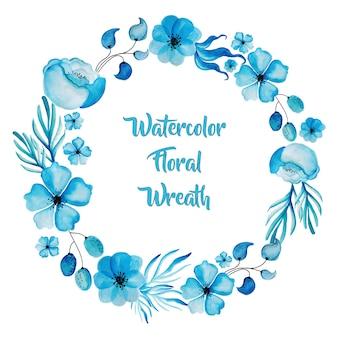 Waterverf blauwe bloemkrans
