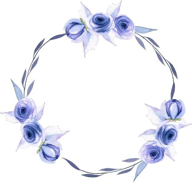 Waterverf blauwe rozen en bladerenkroon