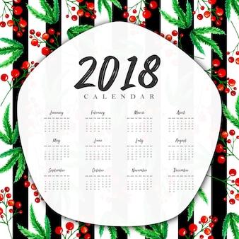 Waterverf bloemen 2018 nieuwjaar jaar kalender met zwarte strepen