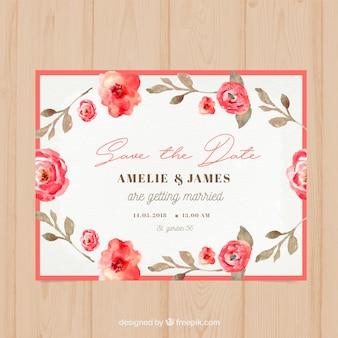 Waterverf bloemen bruiloft kaart