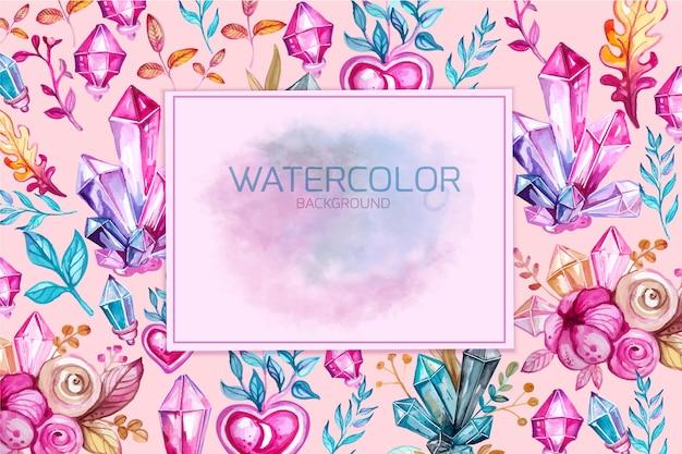 Waterverf bloemen decoratieve banner met magisch kristal en bloemen