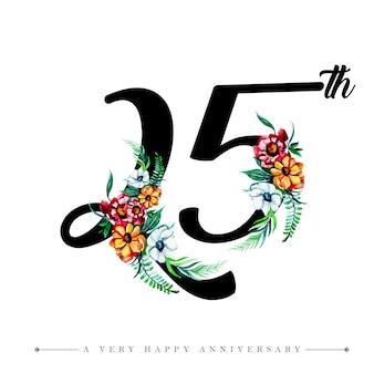 Waterverf bloemen gelukkige verjaardag nummer 25