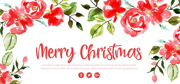 Waterverf bloemen merry christmas banner