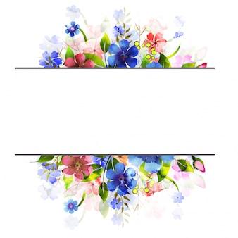 Waterverf bloemen versierde achtergrond.