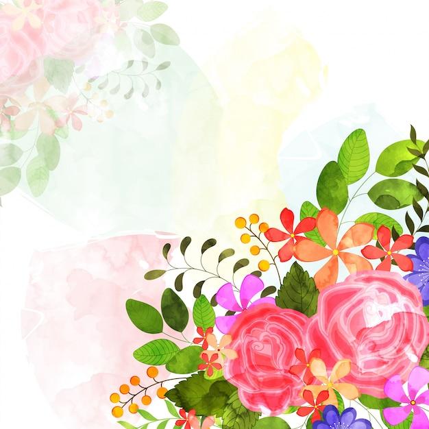 Waterverf bloemen versierde achtergrond. Premium Vector