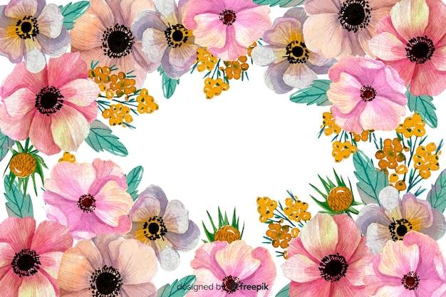 Waterverf bloemenachtergrond en exemplaarruimte