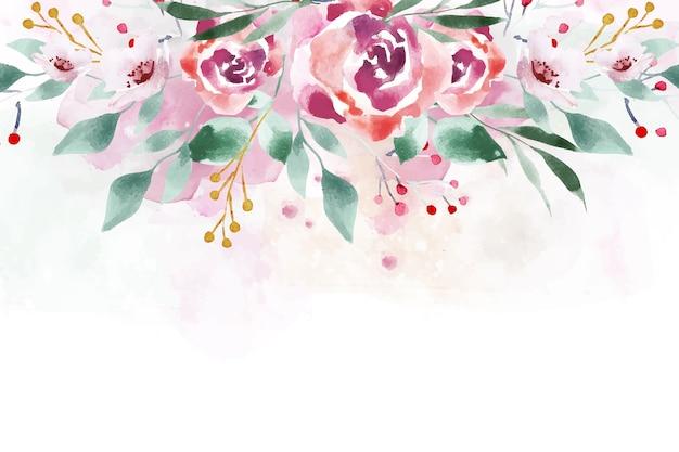 Waterverf bloemenbehang in zachte kleuren